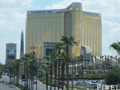 """A világbajnokságnak helyet adó óriási """"Mandalay Bay Hotel"""" (és """"Events Center"""")"""